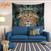 Hyha HD Animal Indian Lion Tapestry Wolf Elephant Tiger Printed Wall Carpet Polyester Tapestries Home Decorative Mandala