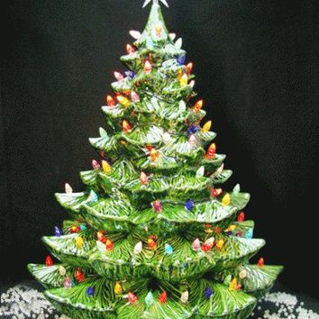 Giant Ceramic Christmas Tree 24 Inches Tall Green Tree Colorful Lights