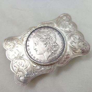 Vintage 1880-o Morgan Dollar Sterling Silver Belt Buckle