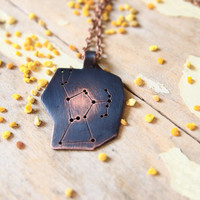 Orion constellation necklace - astronomy jewelry made of copper - stars night sky necklace