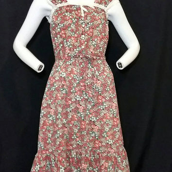 Vintage Jackie O! Flower Summer Dress Division of Surf and Turf/Early 1970s Fashion Dress/Late 1960s Vintage Beach Hippie Girls Dress