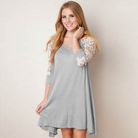 Long Sleeve Patchwork Lace One Piece Dress [6338691204]