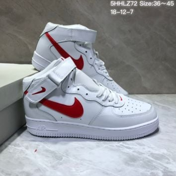 KUYOU N869 Nike Air Force 1 Low Flax High Skate Shoes White Red