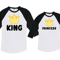 Father Daughter Matching Shirts Dad And Daughter Gifts For New Dad King And Princess Bodysuit American Apparel Unisex Raglan MAT-712-715