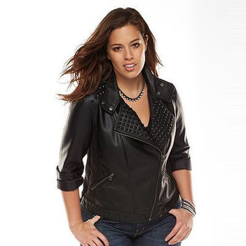 166094 Rock & Republic Vegan Leather Moto Jacket Size XL