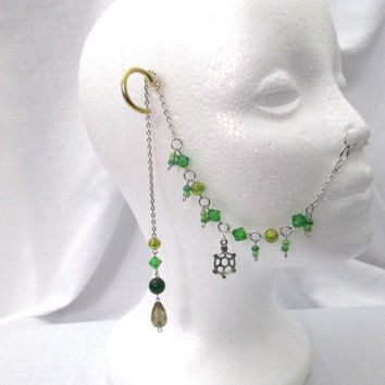 Silver and Green Beaded Nose Ring Chain with Turtle Charm One of a Kind Piercing Chain with Counterweight