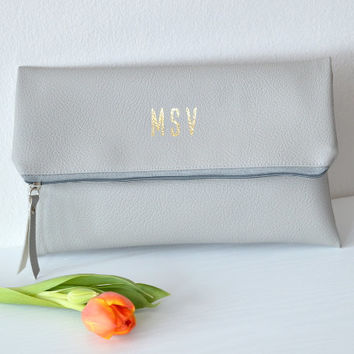 Foldover monogrammed clutch Purse / Bridesmaid Gift / Personalized Clutch Bag / Evening Clutch Purse / Light Grey Clutch Bag