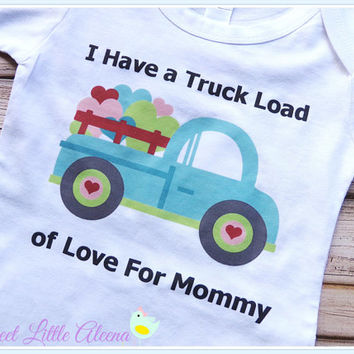I Love Mommy Bodysuit, Baby Boy Truck Bodysuit, Newborn Coming Home Outfit for Boys, Infant Boy Clothing, Personalized Baby Boy Clothes