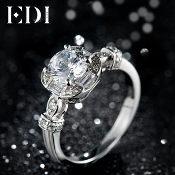 EDI Genuine 1CT Round Cut Moissanites Diamond Ring 14k 585 White Gold Wedding Bands For Women Jewelry