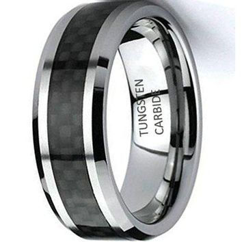 CERTIFIED 8mm Men's & Women's Tungsten Carbide Wedding Band Ring with Black Carbon Fiber Inlay