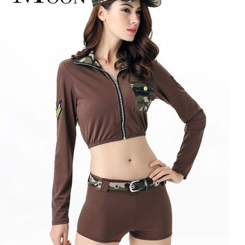 MOONIGHT Hot Sexy Soldier Army Costumes Women Halloween Camouflage Military Costumes