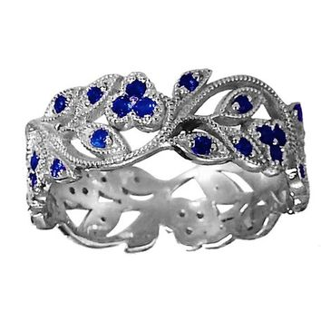 18K White gold Leaves Band with 42 Sapphires Filigree Ring Milgrain Twig Ring