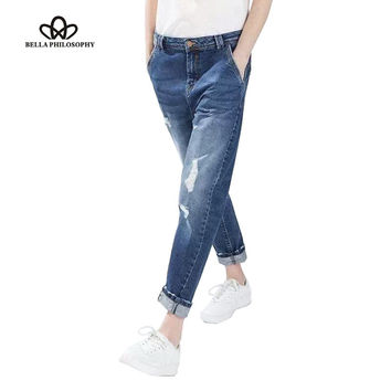 2016 spring latest ladies high waist boyfriend jeans in vintage wash with ripped knee real photo ship before CNY