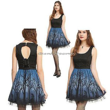 Licensed cool Disney Alice In Wonderland Corset Skirt Dress Woods Silhouette Keyhole JRS S-XL