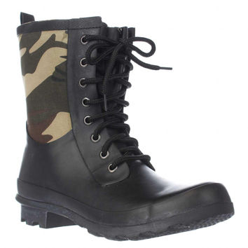 Chooka Cara Lace Up Mid Calf Rain Boots, Green Camo, 6 US / 36 EU