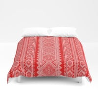 Ukrainian embroidery red and white Duvet Cover by exobiology