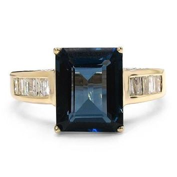 An Ethically Mined 10K Yellow Gold 4.28CT Emerald Cut Genuine London Blue Topaz & White Diamond Ring