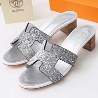 "Hermes Popular In The World ""H"" Letter Heels Shoes Sandals Slippers Silvery I"