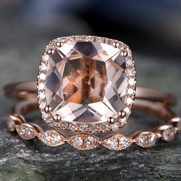 Pink Morganite Rose Gold Engagement Ring Solid 14K Halo ring 2pcs Morganite Rose Gold Wedding Set Diamond Ring Marquise