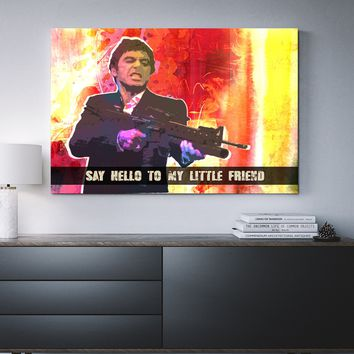 Say Hello To My Little Friend Abstract Pacino Framed Wall Art
