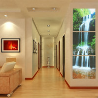 3Pcs Framed Large Waterfall Print Painting Canvas Wall Art Picture Home Decorate Living Room