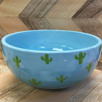 Cactus Cereal Bowl//Blue Ombre bowl with Cactus design//