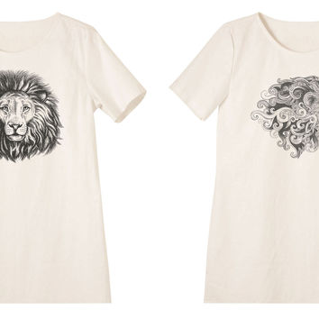 Women Hand Draw Lion Printed Linen Short Sleeves Vintage Mini Shift Dress WDS_06