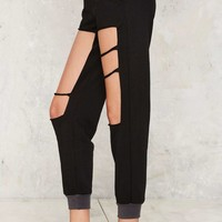 Hole With the Punches Cutout Joggers - Black