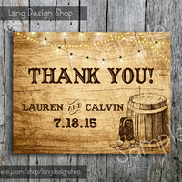 Country Wedding Thank You Card with Lights and Cowboy Boots  - DIY Rustic Thank You Card