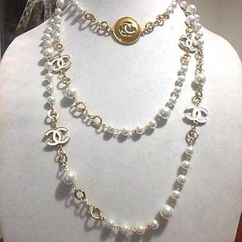 "Designer 60"" 20"" Hollywood Glam, White Pearl Chain Necklace Set"