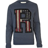 Navy stars and stripes R print sweatshirt