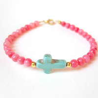 Turquoise Cross Bracelet, Sideways Cross, Beaded Bracelet, Coral Jewelry, Under 30
