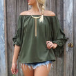 The Rosebud Off The Shoulder Olive Blouse With Ruffled Petal Sleeves