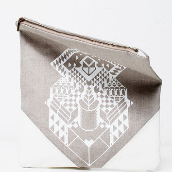 Geometrical Illusion Printed  Leather Pouch  white ipad case No. ZPB-101