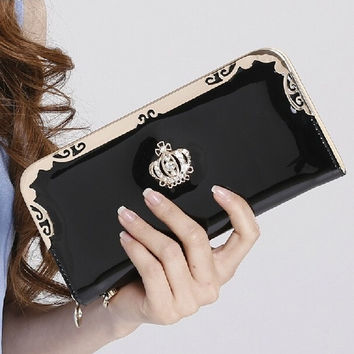 Women Candy Color Fashion Rhinestone Imperial crown pattern Leather Long Wallet = 1958306436