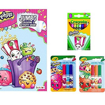 Shopkins Coloring Book Bundle 4 Items: Shopkins Jumbo Coloring & Activity Book, Crayola 8 Count Shopkins Crayons - Poppy Corn, (2) 3 ct. Crayola Pip-Squeak Markers - D'Lish Donut / Strawberry Kiss