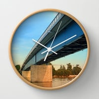 Bridge across the river Danube | architectural photography Wall Clock by Patrick Jobst