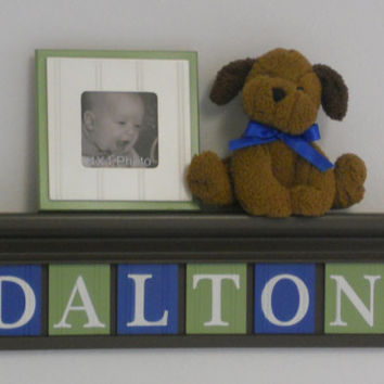 "Wall Decoration Letters Blue and Green Sign on 24"" Brown Shelf 6 Wooden Wall Letters - DALTON"