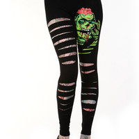 Goth Zombie Rock Cut up - Cut Out Sexy Ripped Look Slashed Zombie Leggings