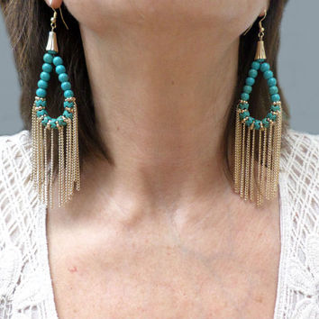 Tribal Turquoise Beaded Loop Gold Chain Tassel Earrings - Boho Turquoise Beaded Gold Chain Fringe Chandelier Drop Dangle Earrings