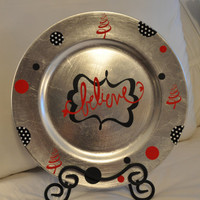Christmas Decorated Vinyl Charger Plate