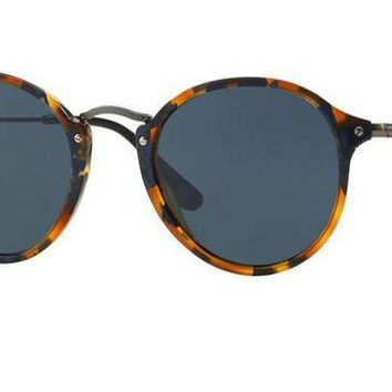 VLX85E Beauty Ticks Ray Ban Round Fleck Sunglasses Spotted Blue Havana With Grey Lenses Rb2447 1158r5