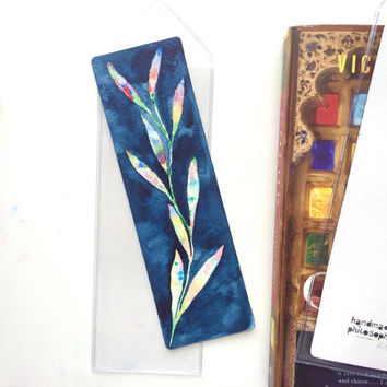 Colorful Leaves Bookmark (original watercolor painting)