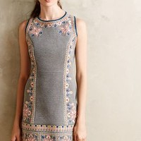 Embroidered Neoprene Shift by Maeve Light Grey