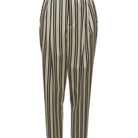 Striped Wool Pleated Crop Suspender Pant - Marc Jacobs