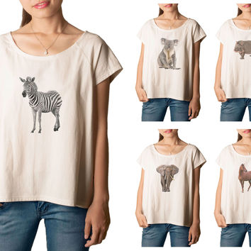 Women's Animal-4 Printed cotton T-shirt  Tee WTS_01
