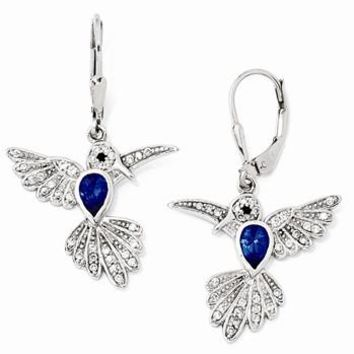 Sterling Silver CZ Synthetic Dark Blue Spinel Hummingbird Leverback Earrings