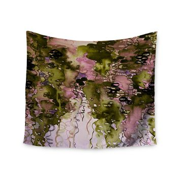 "Ebi Emporium ""Beauty In The Rain, Olive Pink"" Green Lavender Wall Tapestry"