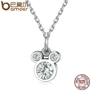 925 Sterling Silver Dazzling Miky Mouse Pendant Necklaces for Women Fine Collares Jewelry SCN068