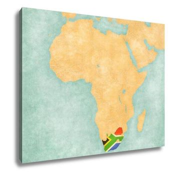 Gallery Wrapped Canvas, Map Of Africa South Africa